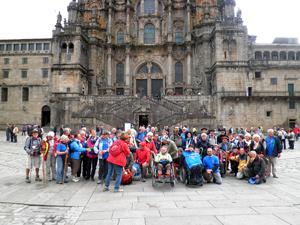 Enfin, l'arrivée devant la cathédrale de Santiago